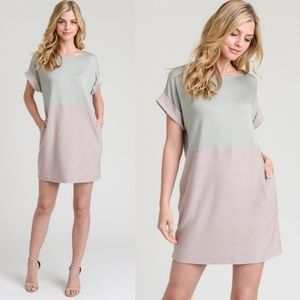 ALUNA Color Block Dress  - SAGE